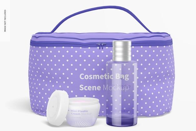 Mockup di scena di borsa cosmetica