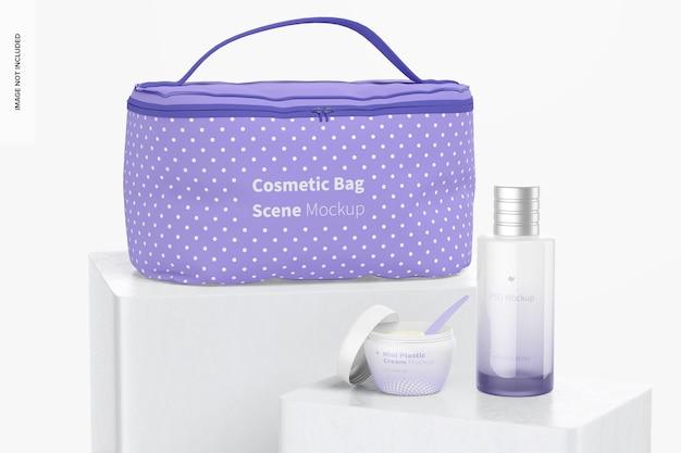 Scena della borsa cosmetica sul mockup del podio