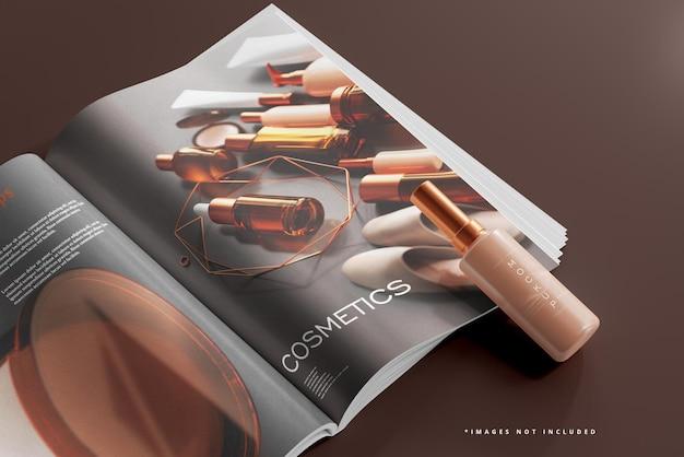 Mockup di bottiglia cosmetica e rivista