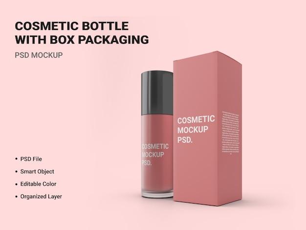 Bottiglia cosmetica con scatola imballaggio mockup isolato