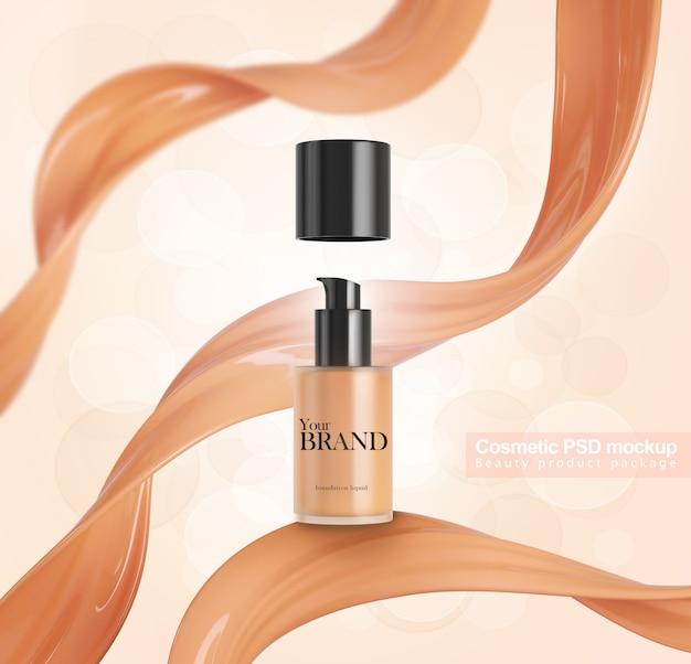 Bottiglia cosmetica con disegno del pacchetto modello fondotinta liquido splash splash.
