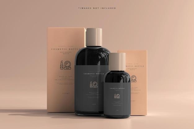 Bottiglie cosmetiche con scatole mockup