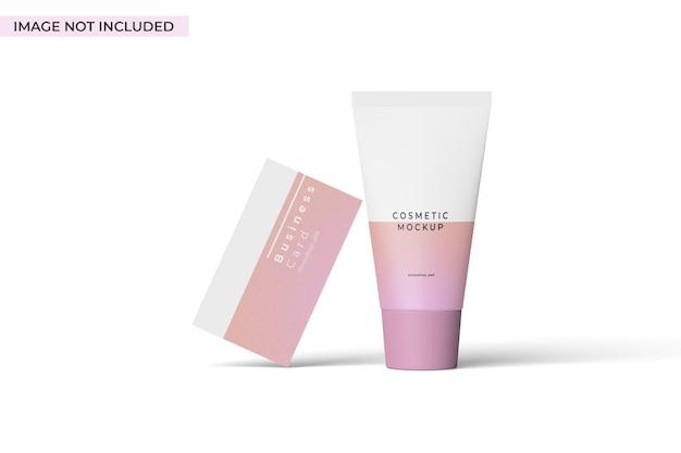 Vista frontale del mockup del marchio cosmetico