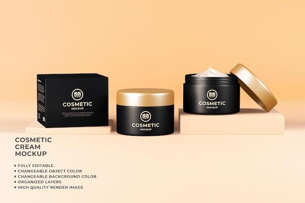 Render 3d a colori modificabile mockup di crema contenitore cosmetico