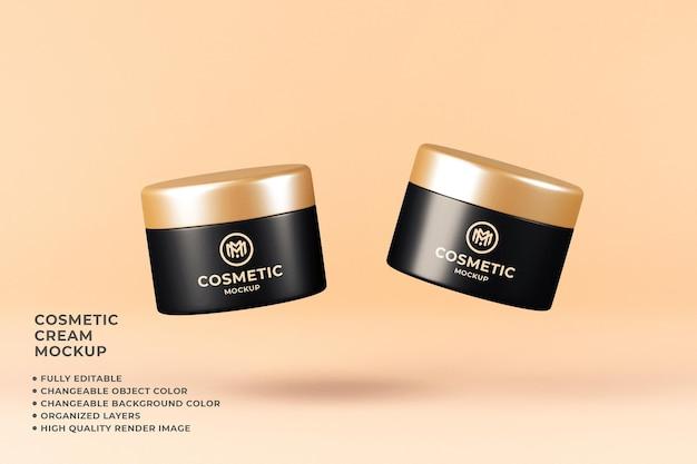 Render 3d a colori modificabile galleggiante mockup crema contenitore cosmetico