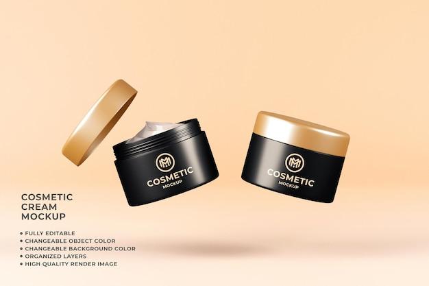 Mockup crema cosmetica render 3d a colori variabili fluttuanti