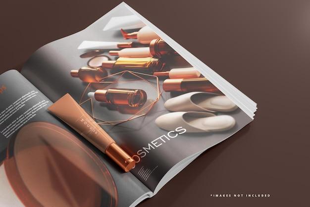 Mockup di tubo e rivista per crema cosmetica