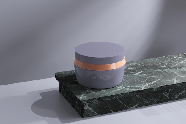 Mockup di barattolo cosmetico sulla superficie in marmo scuro
