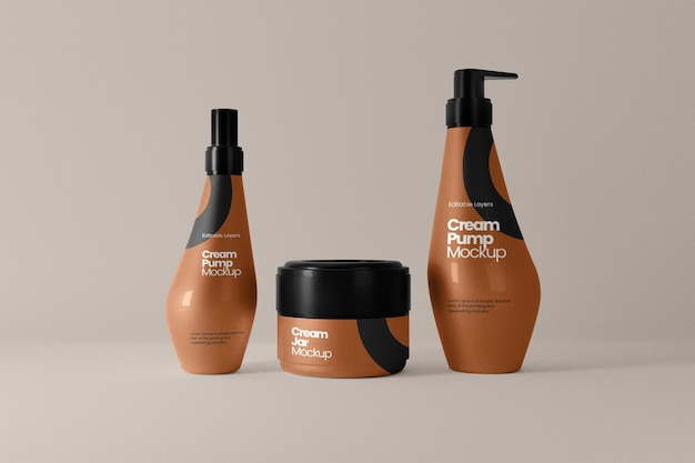 Vaso cosmetico e mockup di bottiglie a pompa multipla vista frontale