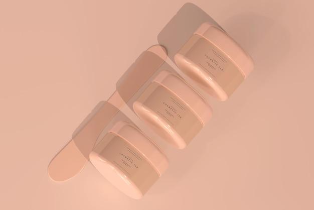 Vaso cosmetico con mockup di etichette trasparenti
