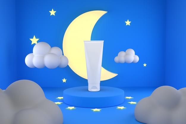 Lozione cosmetica prodotto con notte di luna poduim