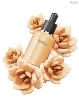 Prodotto cosmetico e fondotinta a forma di fiore Psd Premium