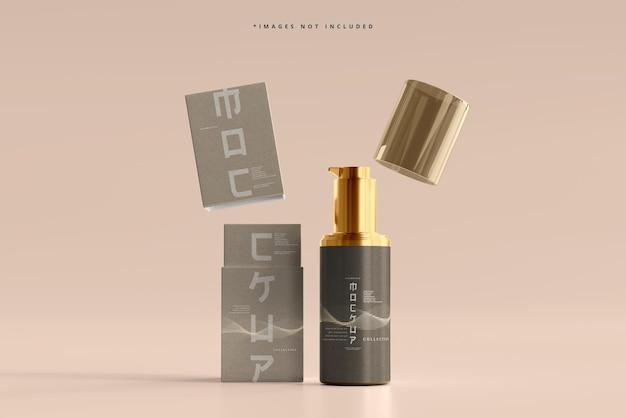 Flacone e scatola per pompa cosmetica mockup