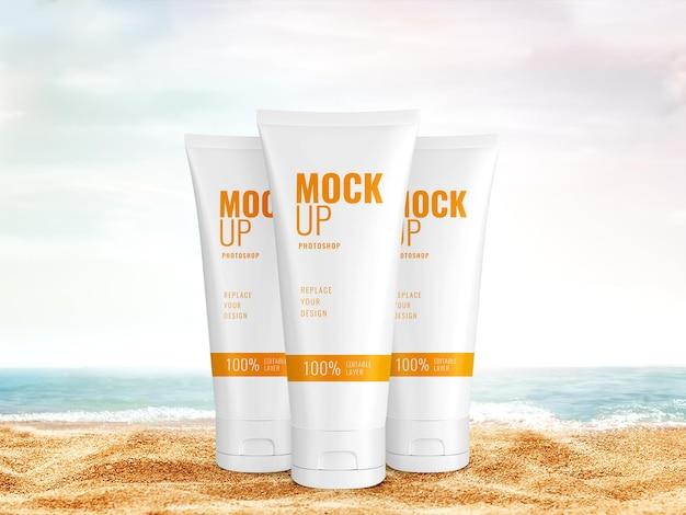 Il sole cosmetico protegge il mockup estivo