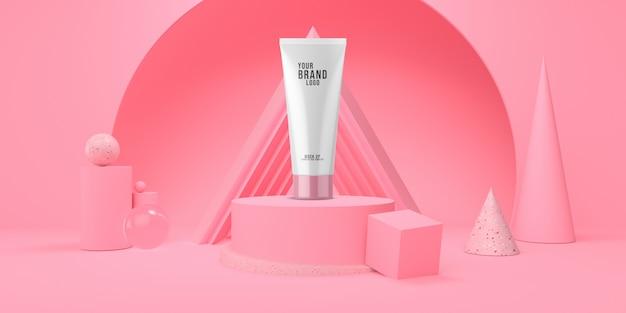 Lo studio cosmetico dell'estratto rosa del modello con il podio e il colore pastello 3d di forma geometrica rendono