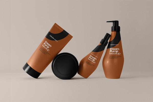 Vista frontale del modello di tubo cosmetico e bottiglia a pompa multipla multiple