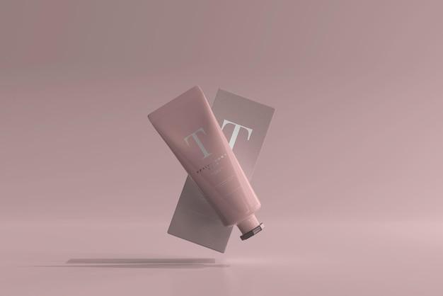 Tubo cosmetico con scatola mockup