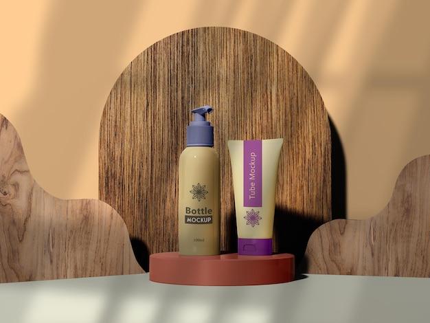 Mockup di branding di cosmetici con legno