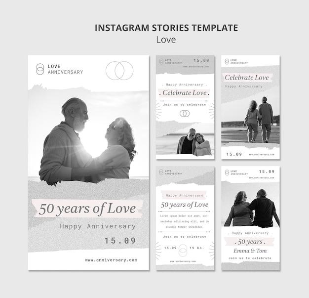 Storie di social media per l'anniversario di coppia