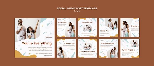 Modello di post social media concetto di coppia