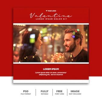 Coppia valentine banner social media post instagram dating love red
