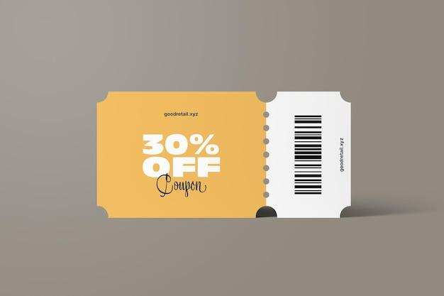 Vista frontale del mockup del coupon