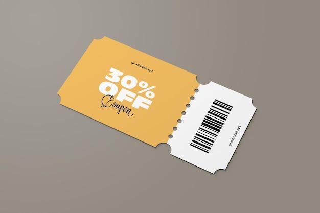 Vista prospettica del mockup del coupon