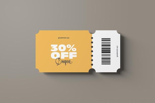 Vista dall'alto del mockup del coupon