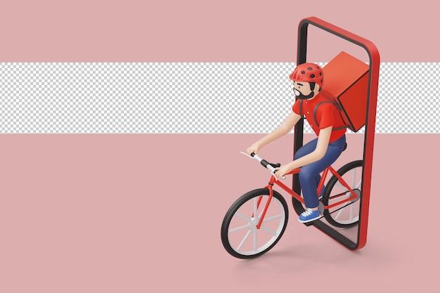 Corriere consegna biciclette uomo con cassetta dei pacchi sul retro in rendering 3d