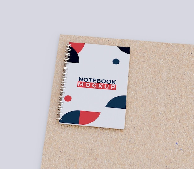 Copertina notebook mockup vista dall'alto