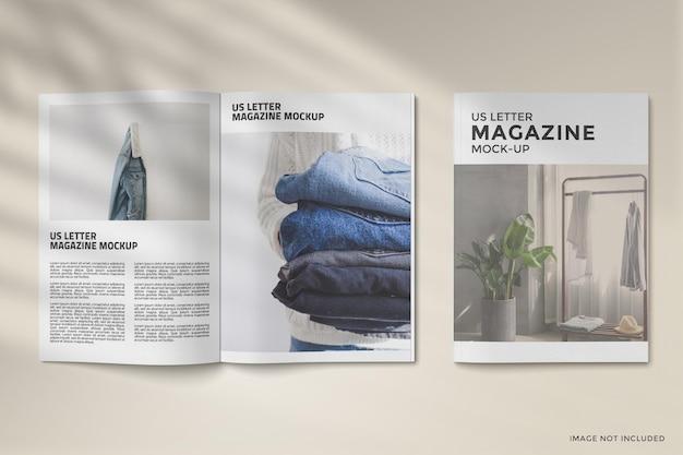 Copertina e design del mockup di una rivista aperta