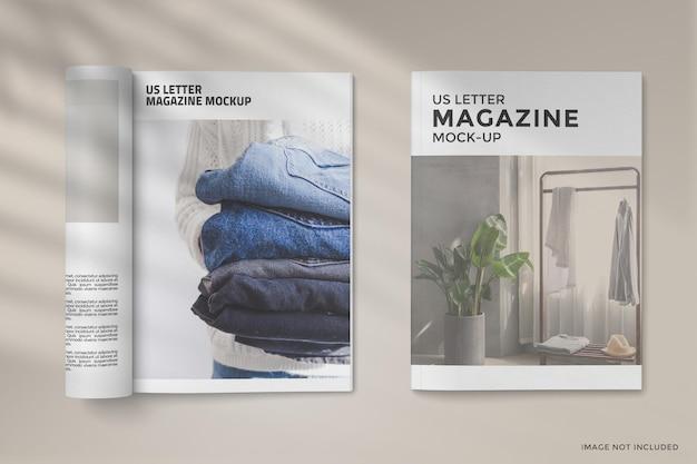Design del mockup di copertina e rivista arrotolata
