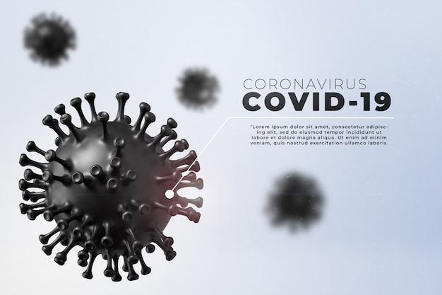 Covid-19, illustrazione medica di infezione da malattia di corona che mostra la struttura del virus dell'epidemia. contagio e propagazione dell'influenza patogena della malattia covida.
