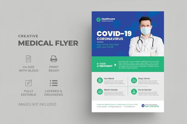 Modello di volantino covid-19 coronavirus con poster di assistenza medica medica