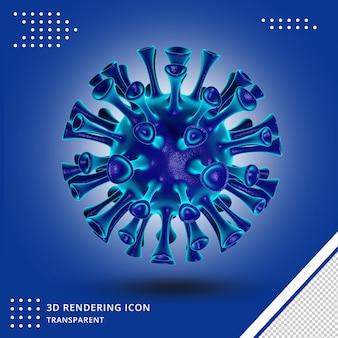 Icona 3d del virus covid isolata
