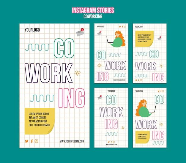 Storie di instagram sul concetto di coworking