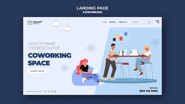 Modello di pagina di destinazione dello spazio di coworking