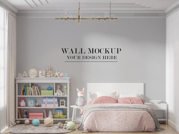 Accogliente mockup della parete della camera da letto del bambino