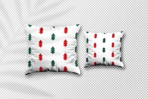 Mockup natalizio in tessuto cuscino accogliente con ombra di foglie di palma