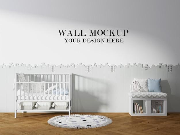 Mockup della parete della stanza dei bambini accogliente