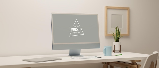 Design accogliente dello spazio di lavoro con mockup del monitor del computer con decorazioni in camera biancaillustrazione 3d