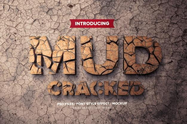 Modello di effetto carattere 3d di fango incrinato