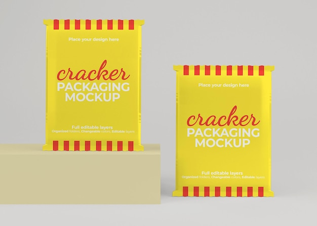Mockup di confezionamento di bustine di cracker o snack