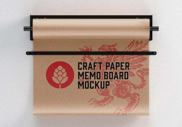 Mockup di lavagna per appunti di carta artigianale