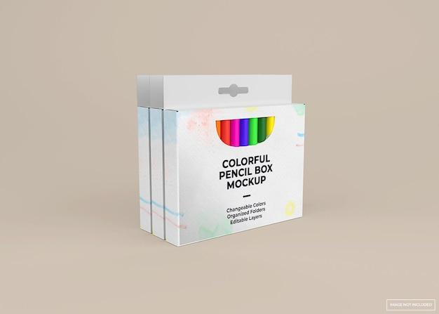 Progettazione di mockup di scatola di pastelli in rendering 3d isolato