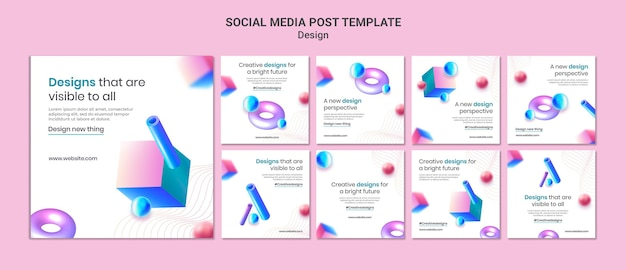 Modello di post di instagram di disegni 3d creativi