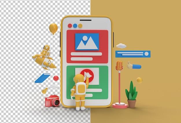 Creativo 3d render design astronauta play gesture for marketing web banner