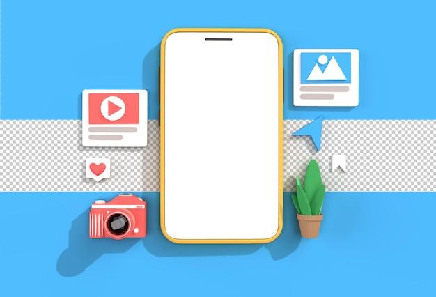 Creativo 3d render mobile mockup per lo sviluppo web banner, materiale di marketing file psd trasparente. Psd Premium