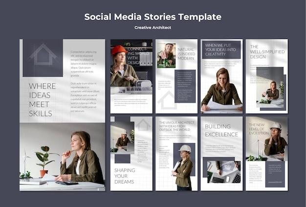 Storie di social media dell'architetto creativo