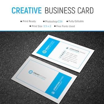 Modello di biglietto da visita creativo blu e bianco